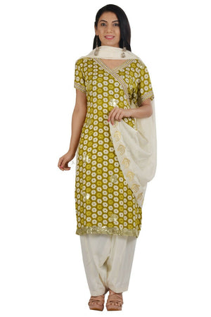 Olive Green Fast ship 5 day  salwar Kameez  Stitched Ready Wear Chest  size 38