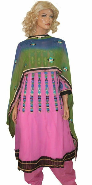 Pink   Anarkali  salwar Kameez Embroidered Indian Wedding Party Chest size 44
