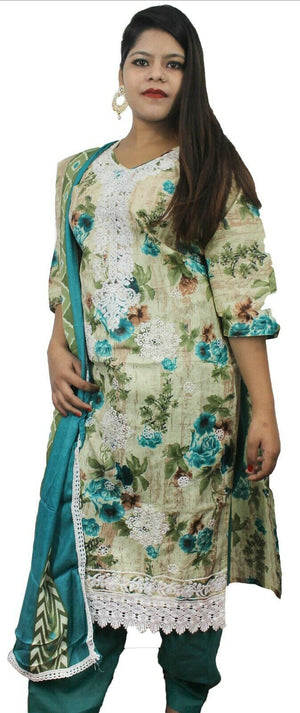 Load image into Gallery viewer, Teal   Designer Salwar kameez Kurta Dupatta  Floral print  Chest  Plus size 44
