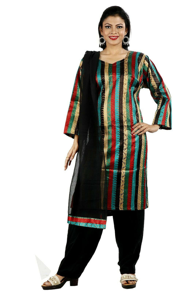 Black Silk pieces Wedding Party Wear Designer Salwar Kameez chest Plus size 46, 48.50.52