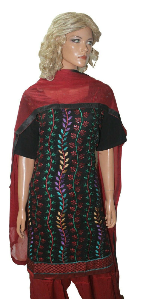 Black Red Embroidered Ready Made Salwar Kameez  Plus Ches size 52 Fast ship New