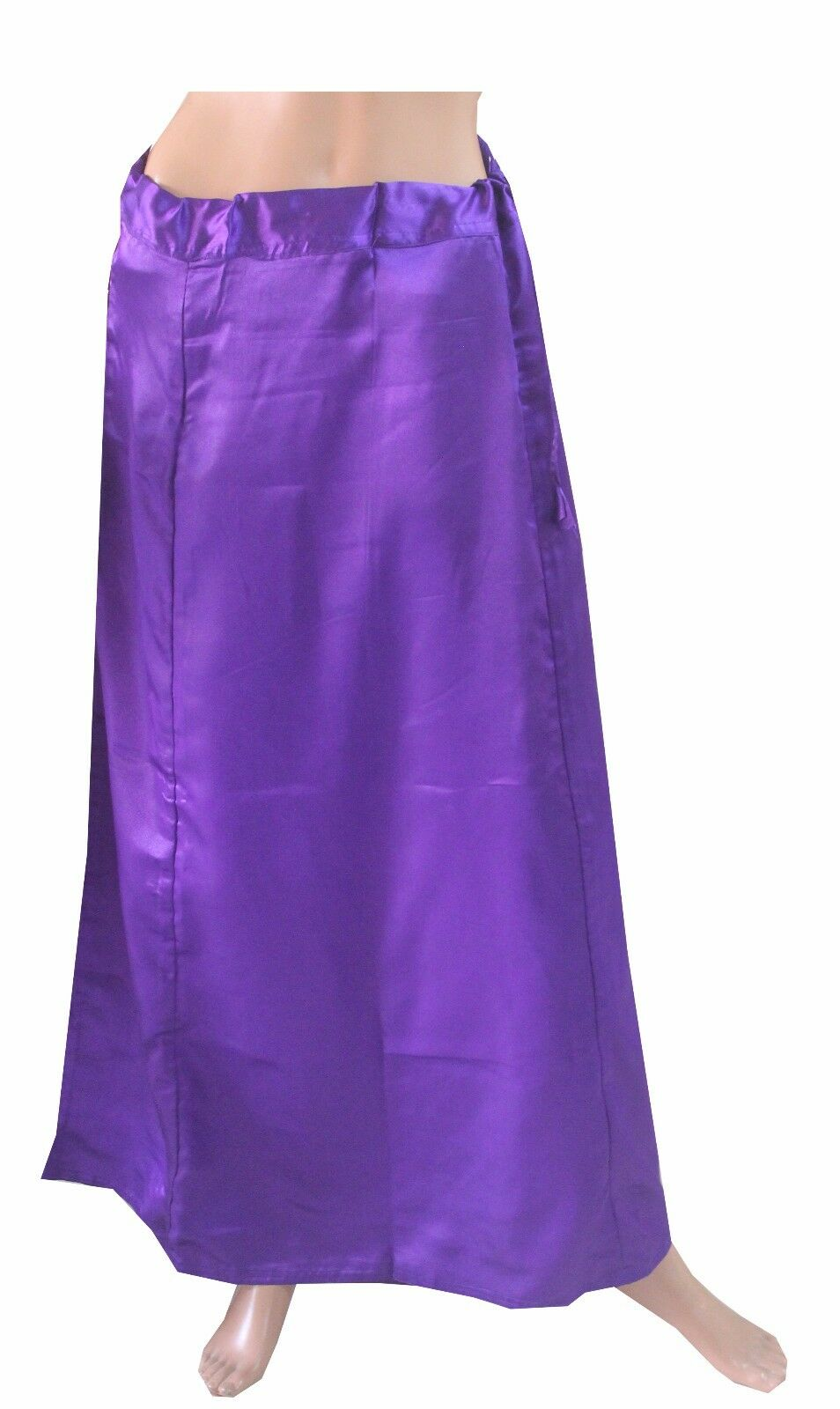 Purple   Satin Indian saree Petticoat Underskirt belly dancing Lehanga slip