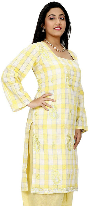 Yellow  Cotton  Designer Ethnic  Full Sleeves  Salwar kameez chest size 52