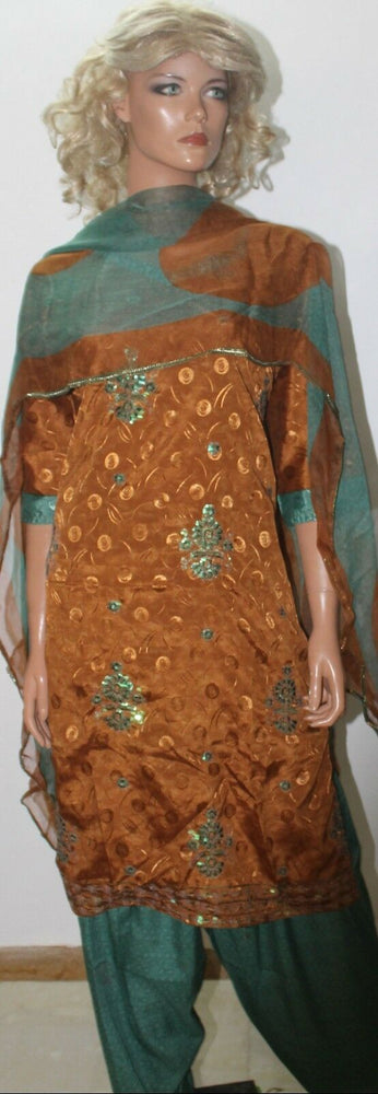 Load image into Gallery viewer, Brown  Green Designer Wear By Manha Patel Dress chest size 44