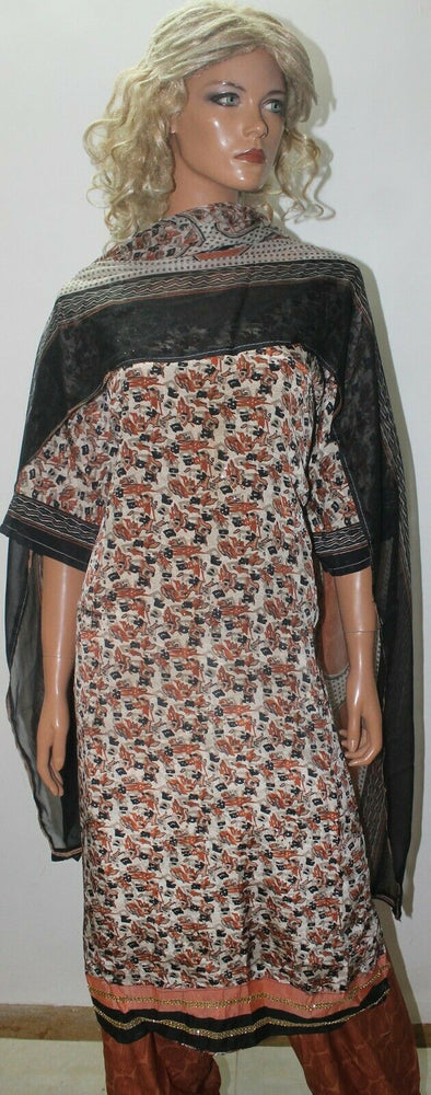 Load image into Gallery viewer, Brown Jamawar Print Soft Crepe  Ready Made Salwar Kameez  chest 56