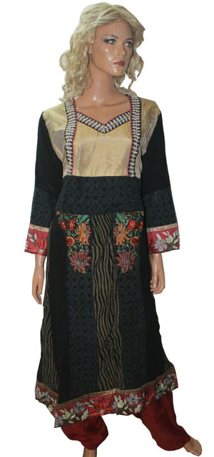 Black  Chiffon  Ready Made Salwar Kameez  chest 46  Full  sleeves Fast ship New