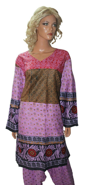 Purple Cotton  Ready Made Salwar Kameez  chest 52 Full sleeves Fast ship New