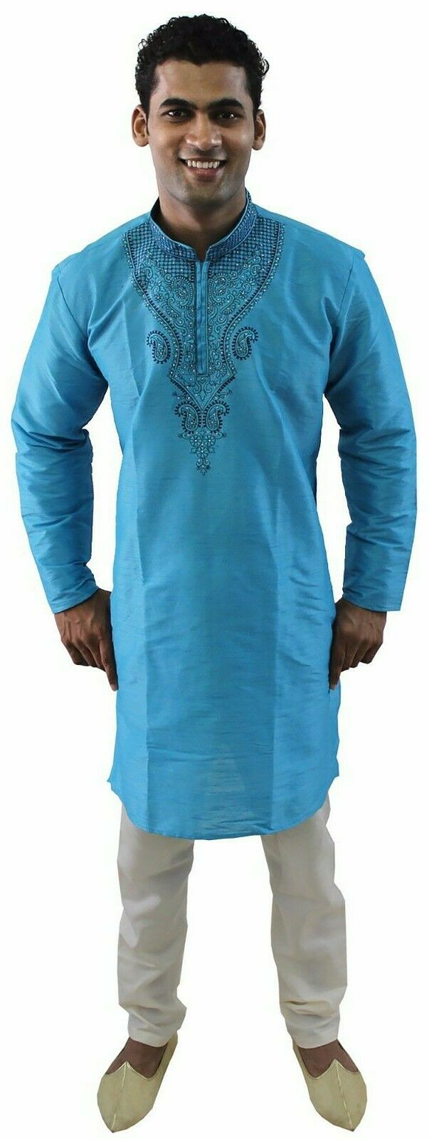 Blue Silk Designer Embroidered Indian Dress Wedding Kurta Sherwani Pajama Set