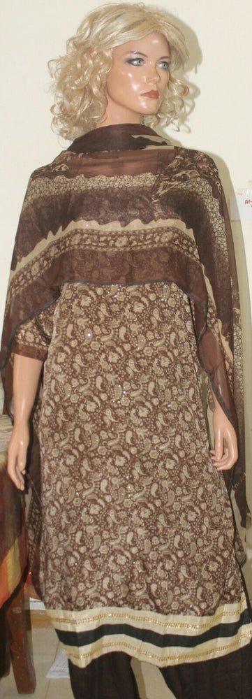 Load image into Gallery viewer, Brown Paisley  Print Crepe Boutique Salwar kameez  Plus size 54 New