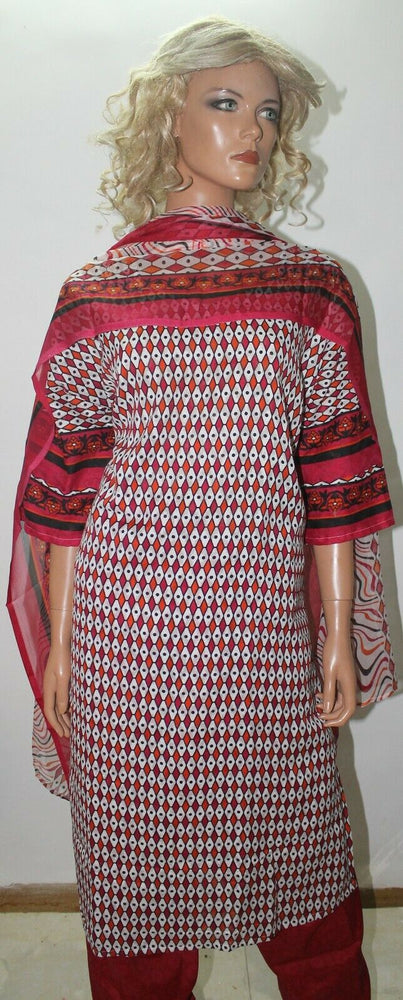 Load image into Gallery viewer, Red Cotton Pakistani Designer Soft   Salwar kameez Chest Plus Size 52