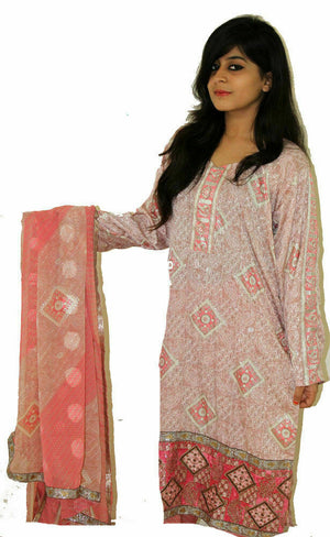 Pink Block  Print  Suit  Salwar kameez Chest  size 46 Boutique New designs