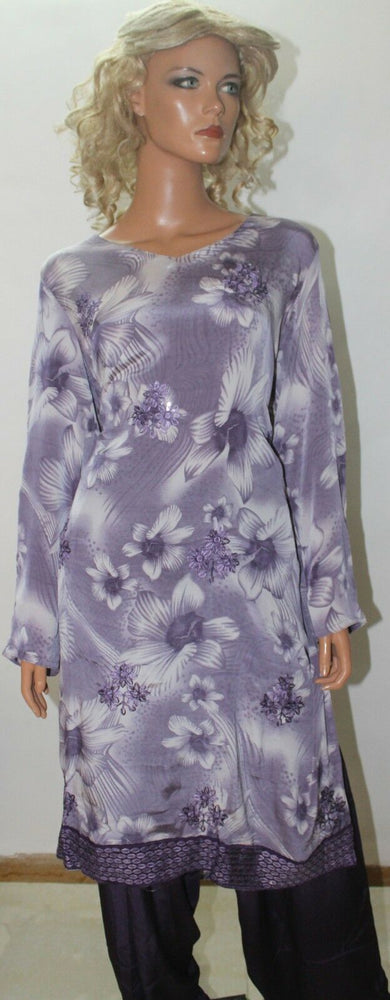 Load image into Gallery viewer, Purple Floral Print  Dress suit plus size 50 Designs By Inayah