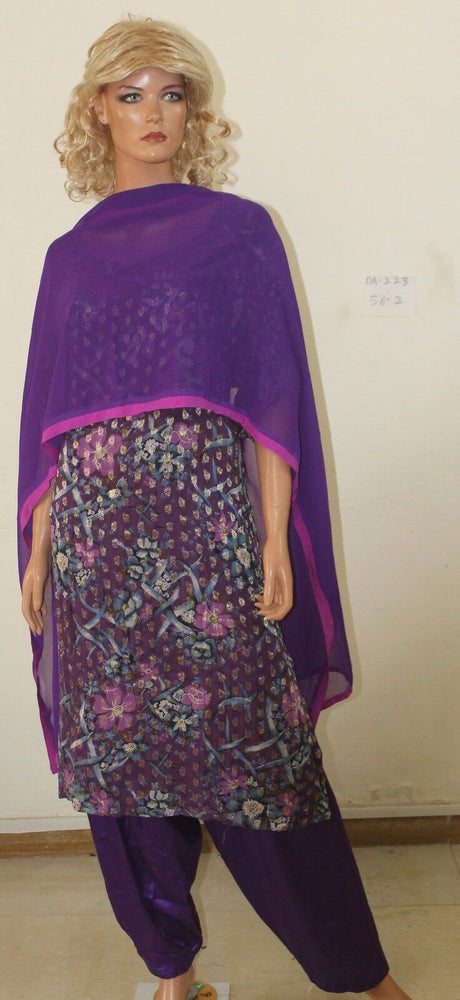 Purple Salwar kameez Plus size DA-223  Crepe  Indian  Plus size 56