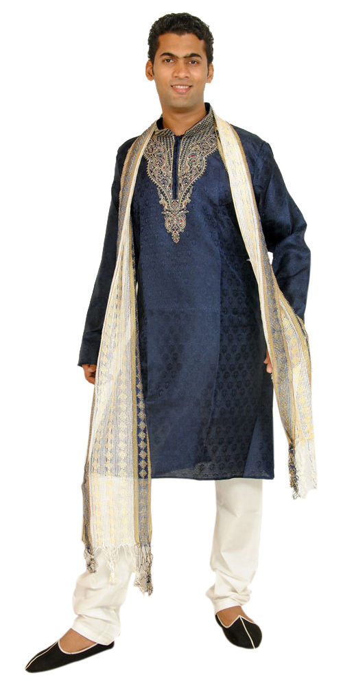 Blue Men Kurta Designer Indian Wedding Formal Clothing W Free shawl pants