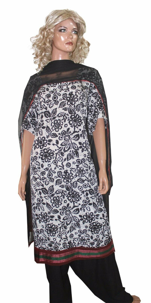Load image into Gallery viewer, Black white  Salwar kameez Plus Size 56 New arrivals