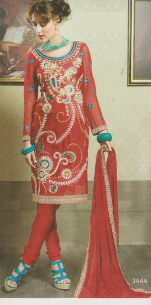 Load image into Gallery viewer, Red Crepe silk Beaded  Designer salwar kameez  Plus size  52 New