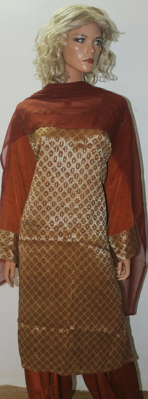 Load image into Gallery viewer, Brown  Suit Designer Crepe Salwar kameez  Plus Chest  size 56