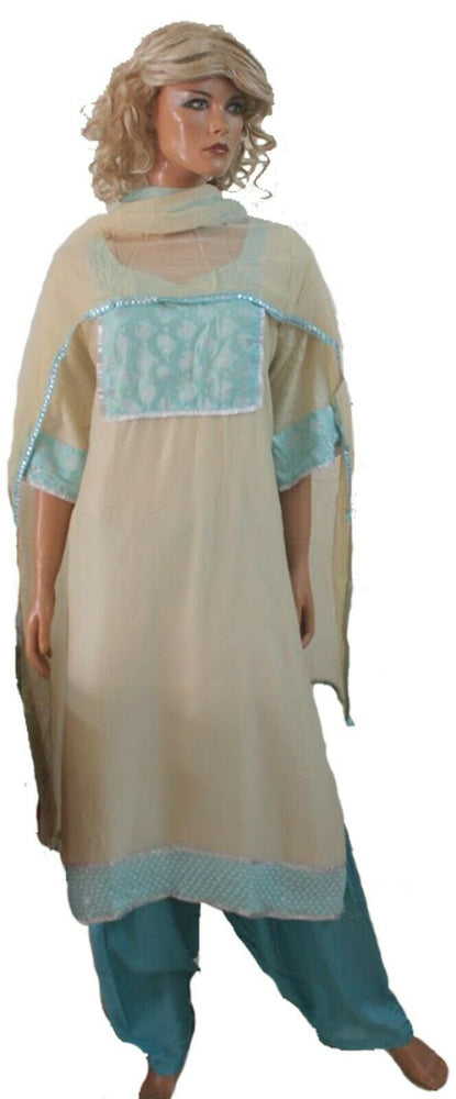 Load image into Gallery viewer, Cream Blue pakistani Designer Ready Made salwar Kameez Chest size 52