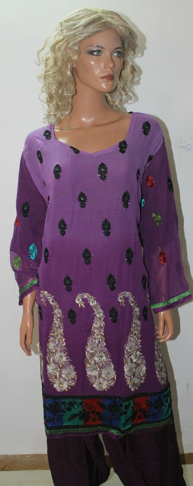 Purple  Embroidered Cotton Bollywood Collections  Salwar kameez Chest Size 56
