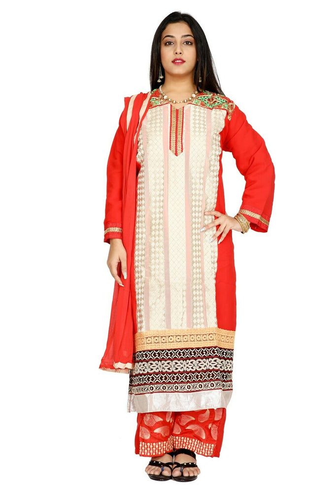Red Chiffon Designer Ethnic Full Sleeves  Salwar kameez chest size 52 Party Wear