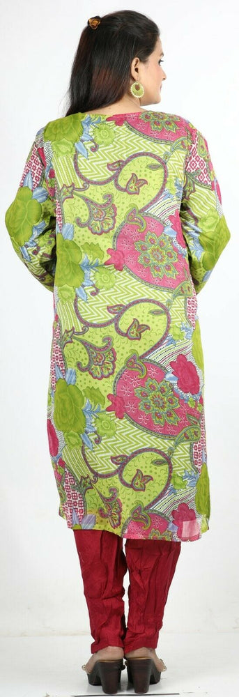 Load image into Gallery viewer, Green Floral Print Summer Salwar Kameez Plus chest 56 Full sleeve Fast ship New
