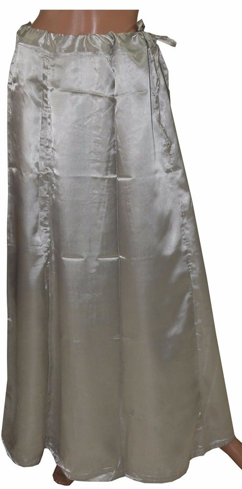 Load image into Gallery viewer, Grey  Satin Indian sari Petticoat Underskirt belly dancing  slip New Arrivals