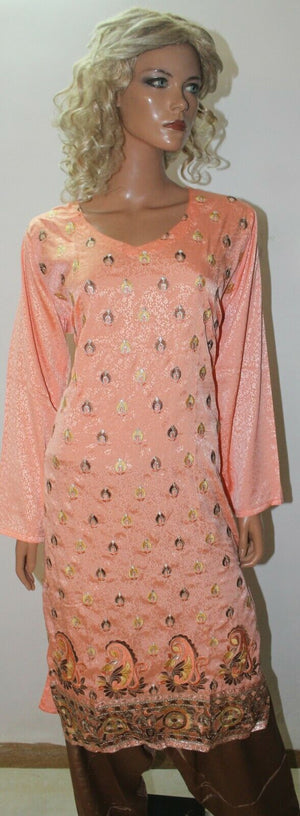 Peach Crepe Catlog Embroidered Dress  Suit  Salwar kameez  Plus size 50