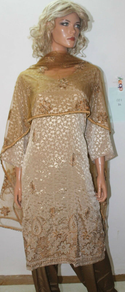 Load image into Gallery viewer, Gold  Dress salwar kameez Designs By Noor Plus size 52