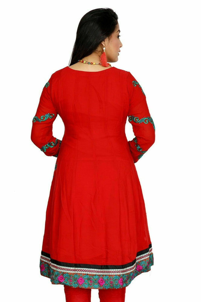 Red  Anarkali  salwar Kameez Embroidered Indian Wedding Party Chest size 36,42