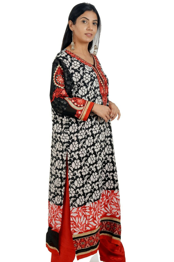 Black Red Embroidered   Salwar kameez Chest size 44  Fast ship  5 day