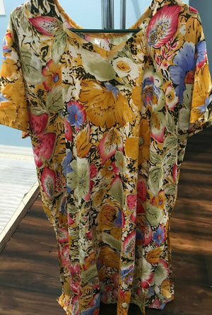 Load image into Gallery viewer, Yellow Soft Crepe Women Favorite Dress  salwar kameez Plus size 56 Floral print