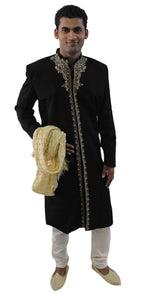 Black Formal Men Royal Sherwani IndoWestern Jacket Blazer Traditional Embroide
