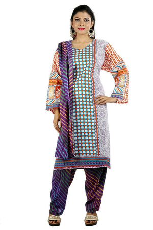 Purple Paisley Print Cotton Summer Kurta with Dupatta &Trousers Plus size 56 ,52