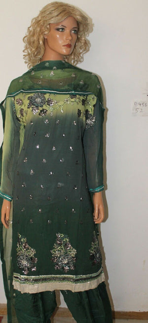 Green Designer wear Dress salwar suit plus size 52