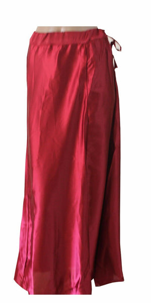 Burgundy  Satin Indian saree Petticoat Underskirt belly dancing Lehanga slip