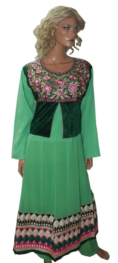 Green Anarkali   Ready Made Salwar Kameez  chest 50 Full  sleeves Fast ship New