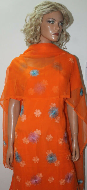 Load image into Gallery viewer, Orange Chiffon  Ready Wear Salwar Kameez  chest 44 Short sleeves Fast ship New