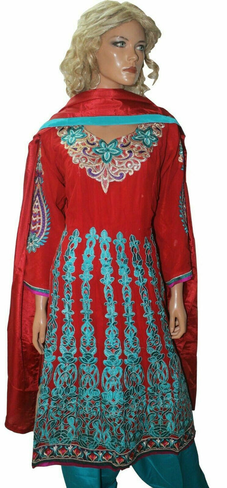 Load image into Gallery viewer, Red  Anarkali  salwar Kameez Embroidered Indian Wedding Party Chest size 36,42