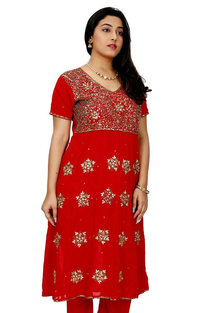 Load image into Gallery viewer, Red Wedding Party Anarkali Churidar Dupatta Stitched Ready Wear Chest  size 40