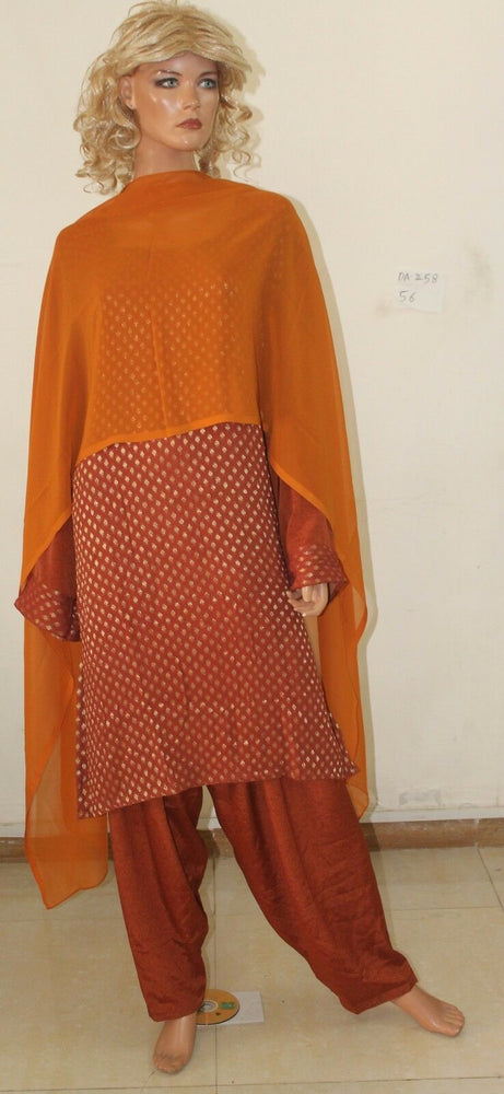 Load image into Gallery viewer, Brown Salwar kameez chest Plus size DA-258 Chiffon Plus size 56