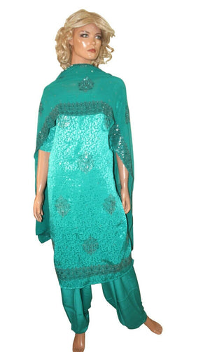 Load image into Gallery viewer, Blue  Designer Party Ready Wear Salwar Kameez  chest Size 56 Short sleeves