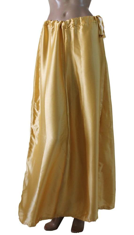 Gold  Luxurious soft satin skirt saree Petticoat Underskirt Imported Material