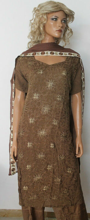 Brown Boutique  Embroidered Wedding Party Ready Wear  Salwar kameez Plus size 56