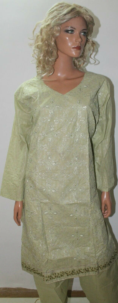 Green  Embroidered Design Cotton Summer  Salwar kameez Stitched Plus size 50