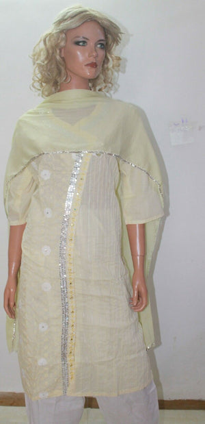 Cream White  Indian Wear salwar  kameez Suit Plus size 50