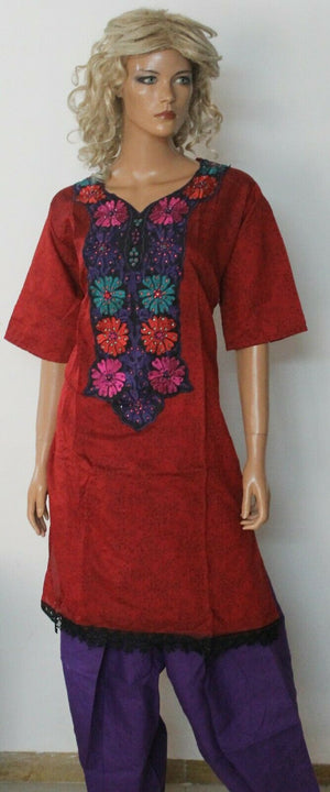 Red Embroidered Design Cotton Summer  Salwar kameez Stitched Plus size 56