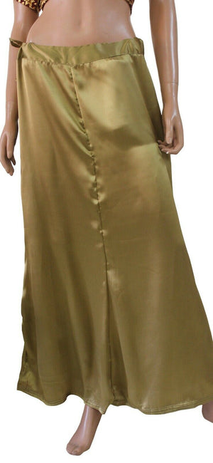 Dark Gold  Satin Indian saree Sari Petticoat Underskirt belly dancing New  slip