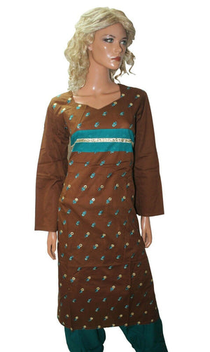 Brown  Cotton  Ready Wear Salwar Kameez  chest Size 44  Full sleeves Fast ship