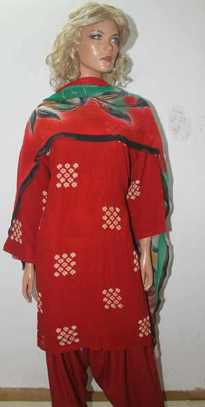 Load image into Gallery viewer, Red Chunri Print Ready Wear Salwar Kameez  chest 48  Full sleeves Fast ship New