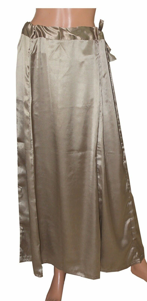 Brown  Satin Indian sari Petticoat Underskirt belly dancing  slip New Arrivals